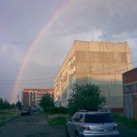 Радуга и 28 дом по улице Машиностроителей (фото сделано телефоном)., Канаш