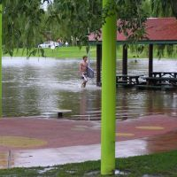 Curtis Park playground in floods, Feb 2008, Армидейл