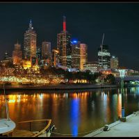 Melbournes CBD at night, Мельбурн