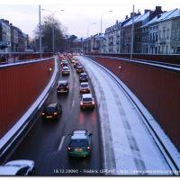 Boulevard Albert / Elisabeth à Mons, sous la neige., Монс
