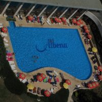 Hotel Dobrudjas swimming pool, as seen from the 15th floor, Албена