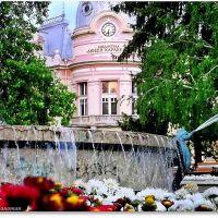 Русе, пл. Батенберг, фонтана и библиотека Л.Каравелов, Русе