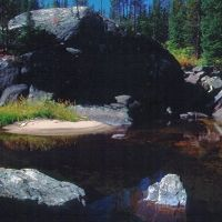A quiet pool in Loon Creek. Lick Creek Mountains, Маунтейн-Хоум