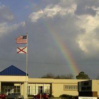 Rainbow during a tornado outbreak in Alabama, Клантон