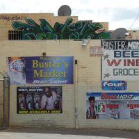 Phoenix, AZ, USA:  Welcome to Busters Market - Graffiti Script & Beer Adverts, 2011, Финикс