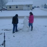 Our son and Daughter Making a Snowman, Аткинс