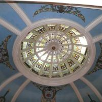 Inside the Wyoming State Capitol building in Cheyenne, looking upward at the rotunda ceiling from the third floor., Шайенн