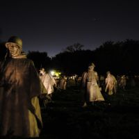 Korean War Veterans Memorial at night - Washington DC - USA, Дэйтон
