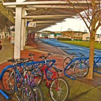 Transit Center, Olympia.  Bicycles provide bus riders with local transportation., Олимпия