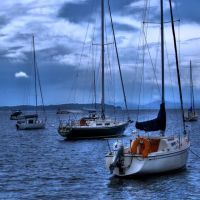 Sailboats in Burlington Harbor (HDR), Берлингтон