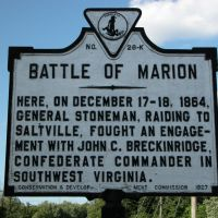 Battle of Marion Historical Marker, South Commerce Street, Marion, Virginia, Марион