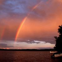 Double rainbow at Lake Dubay Wisconsin, Манитауок