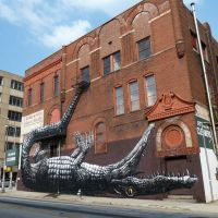dramatic upside-down alligator mural on the side of a lovely old brick building, formerly the Star Hotel, now housing Atlanta Cleaners, 8-17-11, Атланта