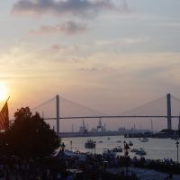 Sunset over the Savannah river & the Talmadge bridge, 4th of July (7-4-2009), Саванна