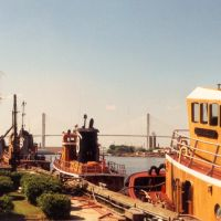 tug boats, Savannah river, Savannah Georgia (1993), Саванна