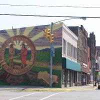 Buckhannon Mural, looking up Main Street, Buckhannon, Upshur County, West Virginia, Бакханнон