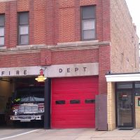 Fire Station in Downtown Belvidere, IL along the Kishwaukee River, Белвидер