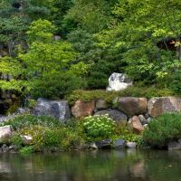 Anderson Japanese Gardens waterfall, Евергрин Парк
