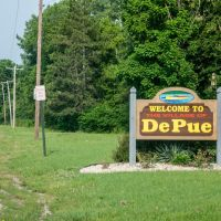 De Pue Illinois welcome sign, Марк