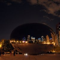 Cloud Gate @ night / Millennium Park (looking South reflecting North), Чикаго