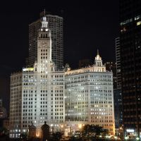 Wrigley Building @ night, Чикаго