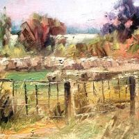 Chris Stuart oil of Traders Point farm fence, Дун-Акрес