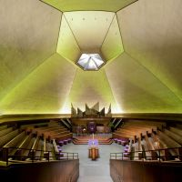 Interior Panorama of North Christian Church designed by Eero Saarinen, Меридиан Хиллс