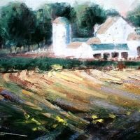 Chris Stuart oil of Traders Point Farm barn, Хигланд