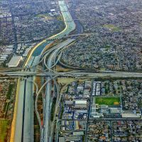 Looks down on the 405/105 Freeway interchange on final approach to LAX, Леннокс