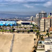 View from Ocean Club Bldg. in Downtown Long Beach, Long Beach, CA (PANORAMA), Лонг-Бич