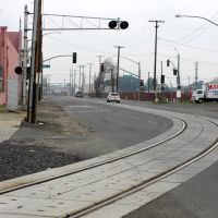 The Union Pacific tracks that spur off of the main line and head down B St, 12/2012, Модесто
