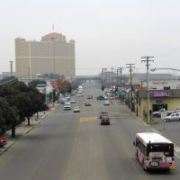 A look down 9th St towards downtown Modesto from the P St overpass, 12/2012, Модесто