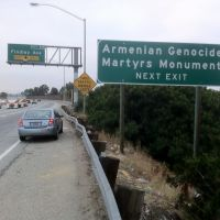 Genocide Monument Sign by Pomona Freeway, Монтебелло