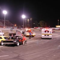 Symons fire safety truck and ambulance at Orange Show Speedway, Сан-Бернардино