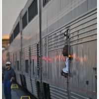 "An early morning service  disruption at San Bernardino Station in California Gives one of the Amtrak ""Southwest Chiefs  Chefs a few moments to reflect on life outside the kitchen  Click here to view My Geotagged Photos in a new way This Image  also, Сан-Бернардино"