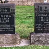 Joel and Angelina Clantons grave markers at Little Lake Cemetary, Санта-Фе-Спрингс