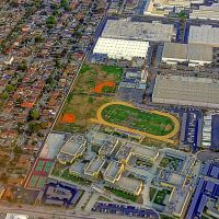 Looks down on South East High School • South Gate, Ca. USA • On final Approach to LAX, Саут-Гейт