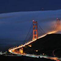 Golden Gate Bridge disappearing in the night fog, San Francisco, California (high resolution), Сусалито