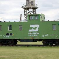 Retired Burlington Northern Railway Caboose No. 11277 on display at the Nebraska Prairie Museum, Holdrege, NE, Нортон
