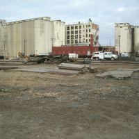 Santa Fe Ave., Railroad repair, and grain elevators. Salina Kansas, January 12, 2012, Салина