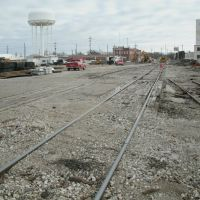 Santa Fe Ave., Railroad repair, from the West. Salina Kansas, January 12, 2012, Салина