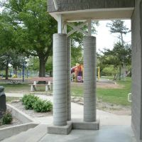 Oakdale Park, Eric Stein Stage, Sculpture bust, and Playground, Салина