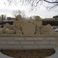 Fort Hays State University, old entrance limestone carving life-size figures by Pete Felten,Hays,KS, Хэйс