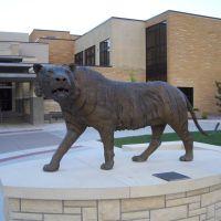 life-size tiger by Tobias Flores and FHSU students, north side of Memorial Union, FHSU, Hays, KS, Хэйс