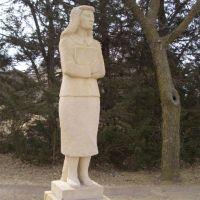 Contemplation - life-size limestone student, Fort Hays State, Hays, KS, Хэйс