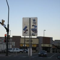 Sign at Canyon and 28th with stickers, Аурора