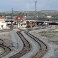 Grand Junction Depot & Railroad Yards from new Riverside Parkway footbridge, CO, Гранд-Джанкшин