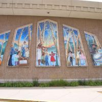panels of murals, Lincoln Park Branch Library, Greeley, CO, Грили