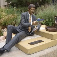 Welcome to My Office, life-size bronze, Greeley, CO, Грили