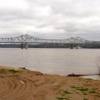 Natchez–Vidalia Bridge across Mississippi River, view from Louisiana side, Клейтон